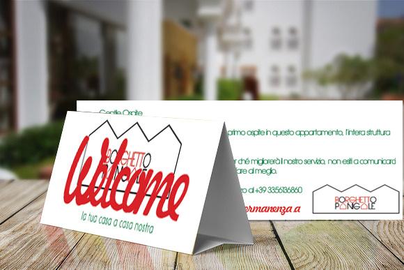 cartoncino della linea grafica del sito web per appartamenti per vacanze