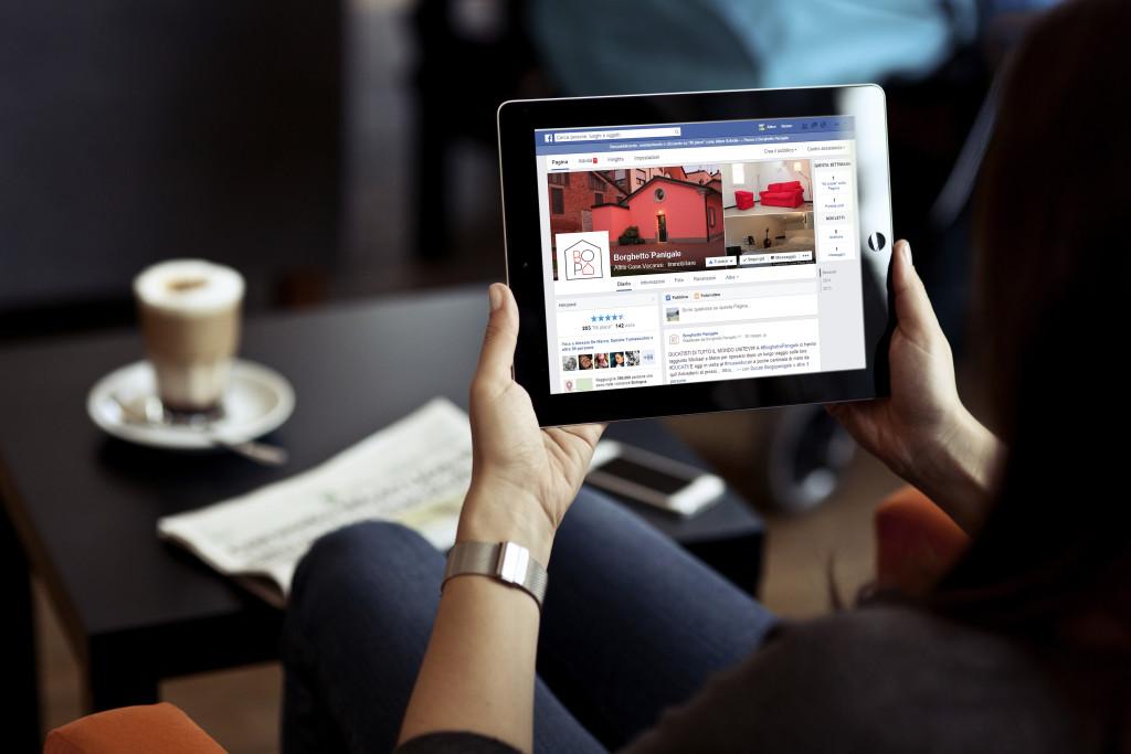 pagina sui social del sito web per appartamenti per vacanze