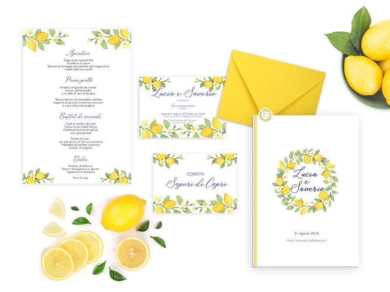 Partecipazioni matrimonio tema ulivo : Partecipazioni limoni